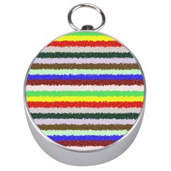 Horizontal Vivid Colors Curly Stripes   2 Silver Compass by BestCustomGiftsForYou