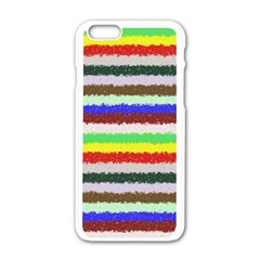 Horizontal Vivid Colors Curly Stripes   2 Apple Iphone 6 White Enamel Case by BestCustomGiftsForYou