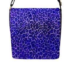 Blue Leopard  Flap Closure Messenger Bag (large) by OCDesignss