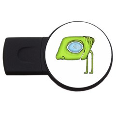 Funny Alien Monster Character 4gb Usb Flash Drive (round) by dflcprints