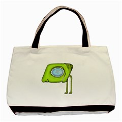 Funny Alien Monster Character Twin Sided Black Tote Bag by dflcprints