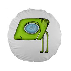 Funny Alien Monster Character 15  Premium Round Cushion  by dflcprints