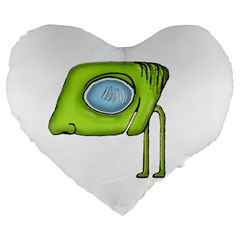 Funny Alien Monster Character 19  Premium Heart Shape Cushion by dflcprints