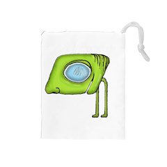 Funny Alien Monster Character Drawstring Pouch (medium) by dflcprints