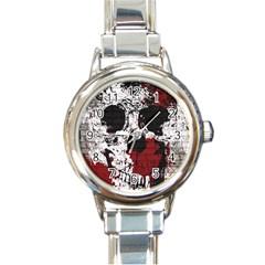 Skull Grunge Graffiti  Round Italian Charm Watch by OCDesignss