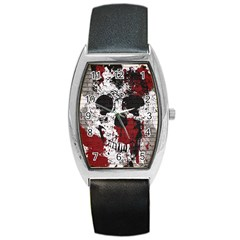 Skull Grunge Graffiti  Tonneau Leather Watch by OCDesignss