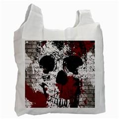 Skull Grunge Graffiti  White Reusable Bag (one Side) by OCDesignss