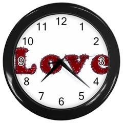 Love Typography Text Word Wall Clock (black) by dflcprints