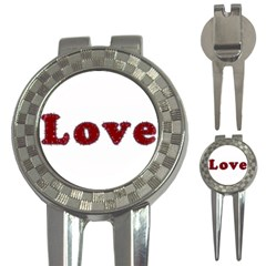Love Typography Text Word Golf Pitchfork & Ball Marker by dflcprints