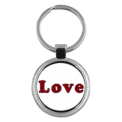 Love Typography Text Word Key Chain (round) by dflcprints