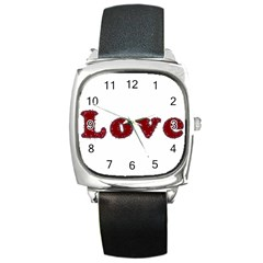 Love Typography Text Word Square Leather Watch by dflcprints