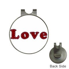 Love Typography Text Word Hat Clip With Golf Ball Marker by dflcprints