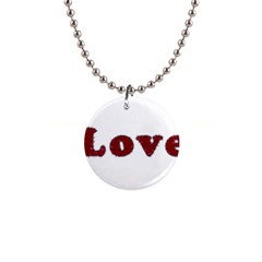 Love Typography Text Word Button Necklace by dflcprints