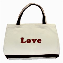 Love Typography Text Word Twin Sided Black Tote Bag by dflcprints