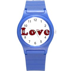 Love Typography Text Word Plastic Sport Watch (small) by dflcprints