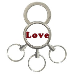 Love Typography Text Word 3 Ring Key Chain by dflcprints