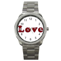Love Typography Text Word Sport Metal Watch by dflcprints