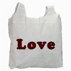 Love Typography Text Word White Reusable Bag (one Side) by dflcprints