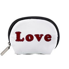 Love Typography Text Word Accessory Pouch (small) by dflcprints