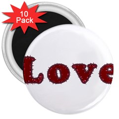 Love Typography Text Word 3  Button Magnet (10 Pack) by dflcprints