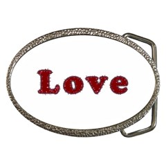 Love Typography Text Word Belt Buckle (oval) by dflcprints