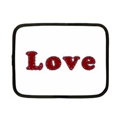 Love Typography Text Word Netbook Sleeve (small) by dflcprints