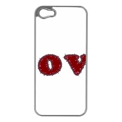 Love Typography Text Word Apple Iphone 5 Case (silver) by dflcprints