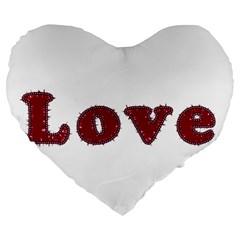 Love Typography Text Word 19  Premium Heart Shape Cushion