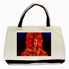 Organic Meditation Twin Sided Black Tote Bag by icarusismartdesigns