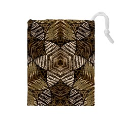 Golden Animal Print Pattern  Drawstring Pouch (large) by OCDesignss
