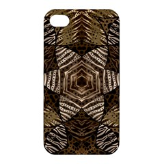 Golden Animal Print  Apple Iphone 4/4s Premium Hardshell Case by OCDesignss
