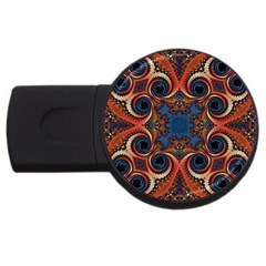 Beautiful Fractal Twirls  4gb Usb Flash Drive (round)
