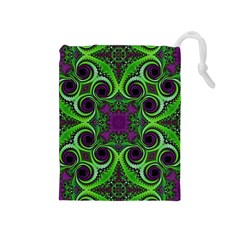Purple Meets Green Drawstring Pouch (medium) by OCDesignss