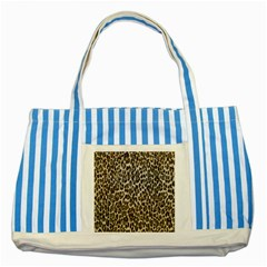Chocolate Leopard  Blue Striped Tote Bag by OCDesignss