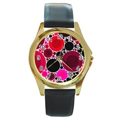 Retro Polka Dot  Round Leather Watch (gold Rim)  by OCDesignss