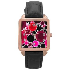 Retro Polka Dot  Rose Gold Leather Watch  by OCDesignss