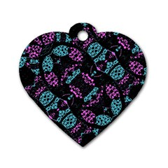 Ornate Dark Pattern  Dog Tag Heart (one Sided)