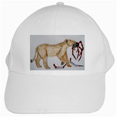 Giant Spider Fights Lion  White Baseball Cap by creationtruth