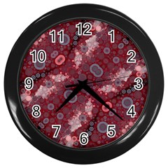 Burgundy Blues Wall Clock (black) by OCDesignss