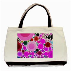Bubble Gum Polkadot  Twin Sided Black Tote Bag by OCDesignss