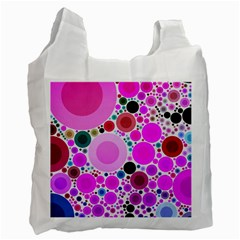 Bubble Gum Polkadot  White Reusable Bag (two Sides) by OCDesignss