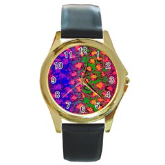 Florescent Cheetah Round Leather Watch (gold Rim)  by OCDesignss