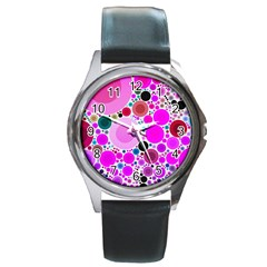 Bubble Gum Polkadot  Round Leather Watch (silver Rim) by OCDesignss