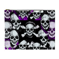 Purple Haze Skull And Crossbones  Cosmetic Bag (xl) by OCDesignss