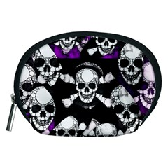 Purple Haze Skull And Crossbones  Accessory Pouch (medium) by OCDesignss