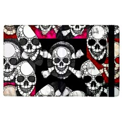 Pink Skull Bling Apple Ipad 3/4 Flip Case by OCDesignss