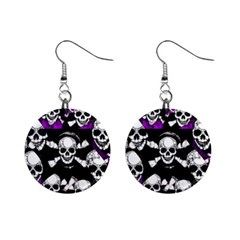 Purple Haze Skull And Crossbones  Mini Button Earrings by OCDesignss