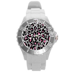 Pink Cheetah Bling Plastic Sport Watch (large)