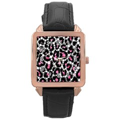 Pink Cheetah Bling Rose Gold Leather Watch  by OCDesignss