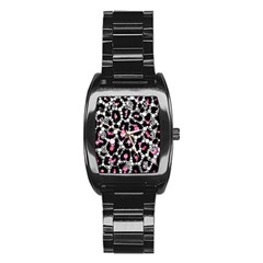 Pink Cheetah Bling Stainless Steel Barrel Watch by OCDesignss